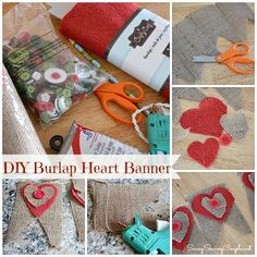 DIY: Primitive Burlap Hearts with Buttons Banner Tutorial