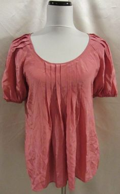 Banana Republic Blouse Top Shirt NWT $69 Small Mauve Rose Silk Pleats Career #BananaRepublic #Blouse #Career