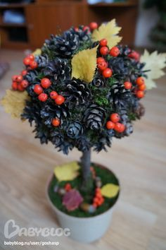 "Поделка в школу на тему""Золотая осень"" Fall Arts And Crafts, Autumn Crafts, Autumn Art, Nature Crafts, Diy And Crafts, Pine Cone Art, Pine Cone Crafts, Diy For Kids, Crafts For Kids"