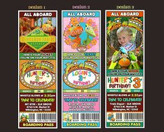 Personalized Dinosaur Train Ticket Invite (etsy)