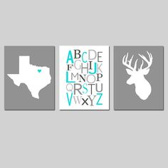 This is an original set featuring three modern coordinating 8x10 prints... perfect for your nursery! State Silhouette Map, Modern Alphabet, and Deer