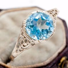 Antique-Vintage-C-1940-Deco-10k-White-Gold-1-58-C-Aquamarine-Estate-Ring-Sz-8-5
