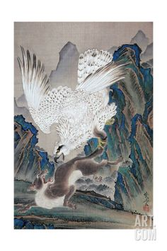 狼を襲う白鷲 (White eagle attacking a wolf) by Kawanabe Kyōsai Japanese Drawings, Japanese Artwork, Japanese Prints, Japanese Illustration, Illustration Art, Japanese Wolf, Hokusai, Eagle Art, Japan Painting