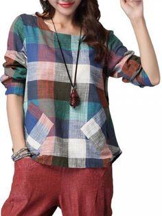 Fashionable Las mujeres del O cuello del estilo étnico de la tela escocesa del bolsillo de Split lino del algodón camiseta Online - NewChic