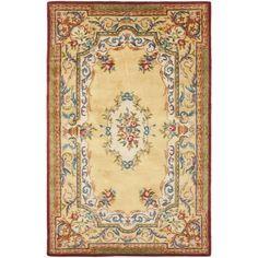 Safavieh Handmade French Aubusson Loubron Gold Premium Wool Rug (6' x 9') (EM822A-6), Size 6' x 9' (Cotton, Border)