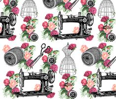 Vintage Sewing and Roses fabric by 13moons_design on Spoonflower - custom fabric