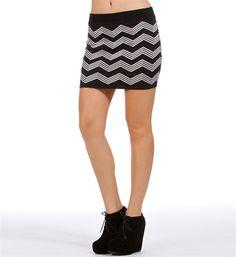Black/White Zig Zag Knit Mini Skirt