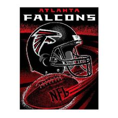 """Atlanta Falcons Throw - This 48"""" x 60"""" loom woven triple-layer jacquard throw blanket is made of 100% acrylic and features a football spiral design. - $39.99"""