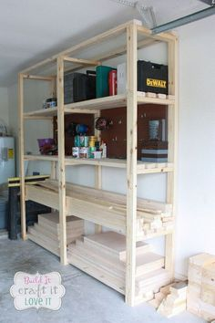 Easy DIY garage shelving and storage units.