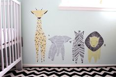 Safari Set of 4 Reusable Fabric Wall Decals  Large by Gingiber