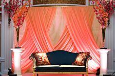 Peach fabric backdrop