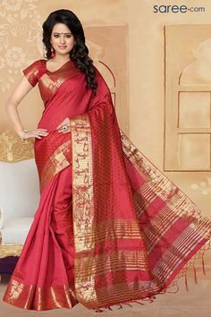 RED BANARASI SILK SAREE WITH ZARI WORK - saree.com
