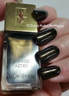 """YSL  ....  Yves Saint Laurent makes some nice things...and fingernail polish is one of them! What a perfect color and formula! """"#28 Bronze Aztec"""". This is a deep brown with gold shimmer throughout. Love it! #notd #ysl #manicure"""