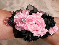 Wrist corsage for prom, Ribbon flower pin, Prom Corsage, Wedding Corsage, Pink and Black Wrist flower