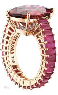 Brilliant Luxury♦Paolo Costagli Rose Gold Cushion-Cut Rubellite Tourmaline Eternita Ring ~ Rubellite tourmaline ct, Rubies ct and Diamonds ct Luxury Jewelry, Custom Jewelry, Jewelry Art, Jewelry Accessories, Jewelry Design, Fashion Jewelry, Designer Jewelry, Jewellery, Black Diamond Bracelet