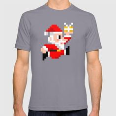 8-bit Christmas: Santa Claus T-shirt. Because Santa beats Mario's High Score every year! (8bit art, graphics, pixels, retro gamer, video games, lol, funny, xmas, vintage, gift ideas, tshirt, tee) - American Apparel T-shirts