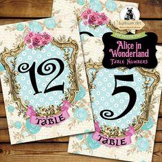 Alice in Wonderland Table Numbers - Printable Table Numbers 1 to 20 - 5x7 Table Numbers - Alice in Wonderland Decorations - Wonderland Party de LythiumArt en Etsy