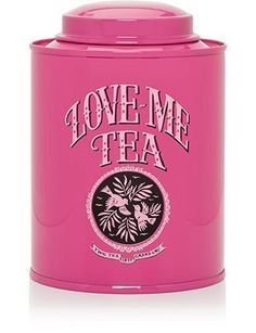 Love Me Love Tea container Tea Tins, Tea Canisters, Dream Tea, What Was I Thinking, Tea Caddy, Tea Art, Everything Pink, My Tea, Patch