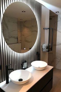 Akupanels, mirrors and marble 🤩 Mirrors And Marble, Colored Ceiling, Downstairs Loo, Slat Wall, Wooden Slats, Acoustic Panels, Grey Oak, Recycle Plastic Bottles, Real Wood