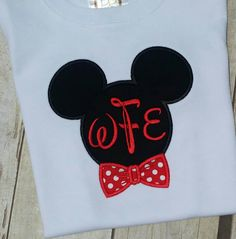 Mickey Mouse monogram with red polka dot bow tie T shirt, for infant, boy's and Men. Disney font monogram  White SHORT SLEEVE T-shirt by MakinMemoriesFun on Etsy https://www.etsy.com/listing/234670514/mickey-mouse-monogram-with-red-polka-dot