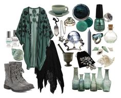 """""""Storm Water Witch"""" by ashenbones on Polyvore featuring Demeter Fragrance Library, Butter London, H&M, Jayson Home, China Glaze, By Lassen, Jars, Roxy, ocean and witch"""