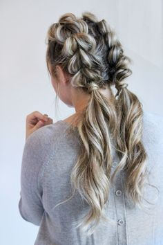 jumbo pull through braided pigtails | workout #hairstyles