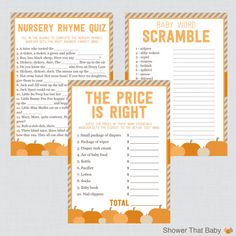 Pumpkin Baby Shower Games Package with Seven by ShowerThatBaby