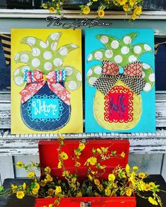 Handpainted pineapples. Wooden signs. Free hand. Welcome. Hello.