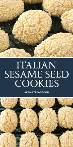 Sesame Seed Cookies - A Family Feast® Italian Sesame Seed Cookies are the perfect sweet treat to serve with a cup of coffee or espresso.Italian Sesame Seed Cookies are the perfect sweet treat to serve with a cup of coffee or espresso. Italian Sesame Seed Cookies, Italian Cookies, Sesame Seed Cookies Recipe, Italian Biscuits, Cookie Desserts, Holiday Desserts, Dessert Recipes, Gourmet Desserts, Picnic Recipes