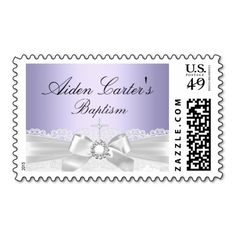 Purple White Lace and Cross Baptism Postage Stamp