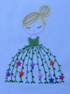 Vintage Embroidery Patterns - Vintage Embroidery Patterns girl with embroidered skirt - Hand Embroidery Flowers, Simple Embroidery, Hand Embroidery Stitches, Embroidery Hoop Art, Crewel Embroidery, Hand Embroidery Designs, Vintage Embroidery, Embroidery Techniques, Ribbon Embroidery