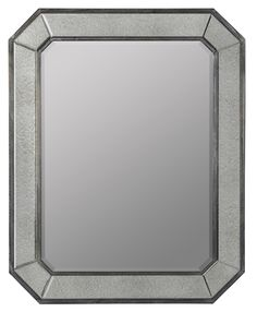 Donato Mirror Gray Washed Wood and Antiqued Glass Finish; Beveled Mirror
