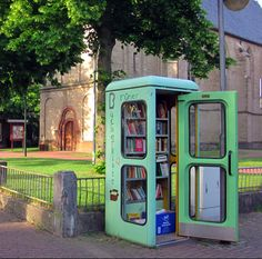 Omg love love love Turn an old telephone box into a communal book swap! Creative project...