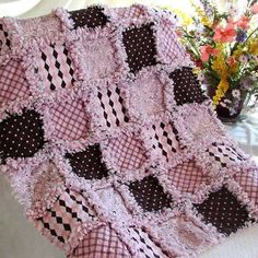 Pink and Brown Baby Rag Quilt Don't know why I love this so much.