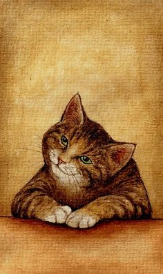 """""""Cat on the table"""", drawing by Finnish artist Maija Laaksonen (a.k.a. moussee on…"""