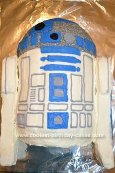"""Homemade R2D2 Star Wars Cake: I made this cake for a friend whose son was having a Star Wars birthday party. She just said """"a cool R2D2 cake."""" I immediately got on this website and"""