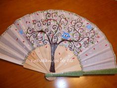 El árbol de la vida Hand Held Fan, Hand Fans, Fan Decoration, Vintage Fans, Birds, Drawings, Fabric, Artwork, Painting