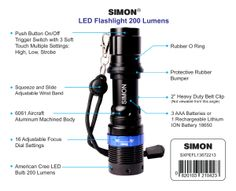 Powerful little torch light flashlight. Great for emergency backup to have in your Boat, Car, Truck, or RV glove box. http://simonflashlights.net/product/cree-led-flashlight-xpe-200 Highest Quality, On Sale, In Stock, Ships Today Just $25.00