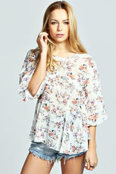 Amy Floral Bell Sleeve Peplum Top at boohoo.com