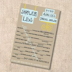 Bridal Shower Game - Customized Mad Libs
