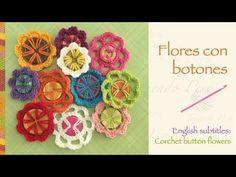 Flores tejidas a crochet con botones (a reciclar!) / Crochet button flowers (recycling!) - YouTube