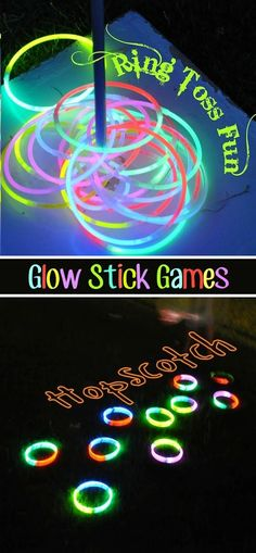 Backyard Glow Stick Games Just because it gets dark doesn't mean all of the outdoor fun has to end! Glow sticks will keep the party going. These would be awesome for a 4th of July party! You could even fill balloons with glow stick and make a glowing balloon dart board. Or, outline the ring of your cornhole board with a glow stick so you can continue playing at night!