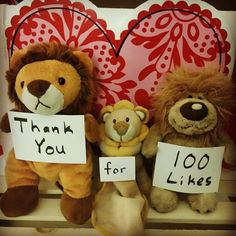 To: Everyone - Thank You!! From: Adorable Industries Team    (www.adorableindustries.com)  #adorableindustries #thankyou #feelloved #lions #plushie #plushies #100likes #cute #cuteness #overload #cutenessoverload #lion #cuteplushie #photo #photos #likes #loved #little #mini #puppet #heart #background #adorable #facebook
