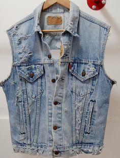 Vintage LEVIS Denim Cut of Vest Distressed size L for men FREE SHIPPING