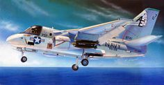S-3A Viking, VS-28 (Hasegawa box art) Aircraft Parts, Military Jets, Aviation Art, War Machine, Usmc, Box Art, Architecture, Airbrush, Vikings