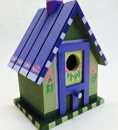 Wooden Chalet Purple and Moss Birdhouse by by VibrantTrains, $29.95
