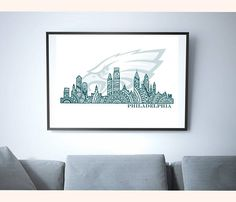 DETAILS Cityscape - Philadelphia (Fly Eagles Fly) - NO FRAME For more art items, visit my shop at: https://www/etsy.com/shop/SelahVieStudios Mehndi abstract original art print, inspired by the majestic skyline of downtown Philadelphia, PA, after winning Super Bowl LII. Fly, Eagles