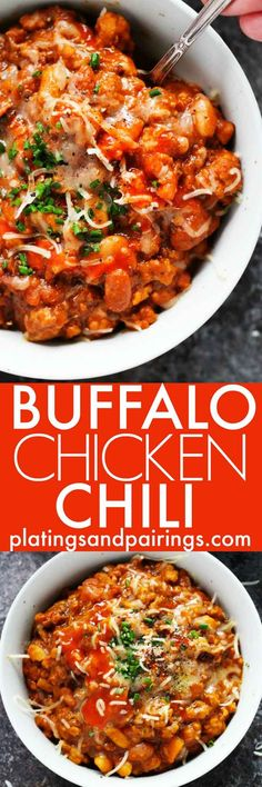 This Buffalo Chicken Chili features all the flavors of your favorite finger food in a spicy chili. It's a new healthy and hearty way to enjoy buffalo wings! Buffalo Chicken Chili, Buffalo Chicken Recipes, Buffalo Food, Spicy Chicken Recipes, Garlic Chicken, Chili Recipes, Soup Recipes, Healthy Recipes, Copycat Recipes