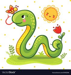 Buy Snake by svaga on GraphicRiver. Vector illustration of a cartoon Snake and a butterfly on the sunny lawn. Cute Snake in vector. Snake Painting, Snake Drawing, Snake Art, Animal Sketches, Animal Drawings, Cute Drawings, Easy Drawings For Kids, Drawing For Kids, Snake Images