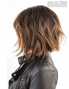 textured short brunette bob balayage - Google Search More